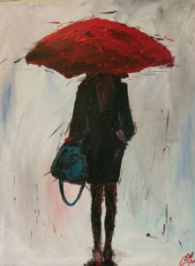 Red Umbrella 16x20 $95