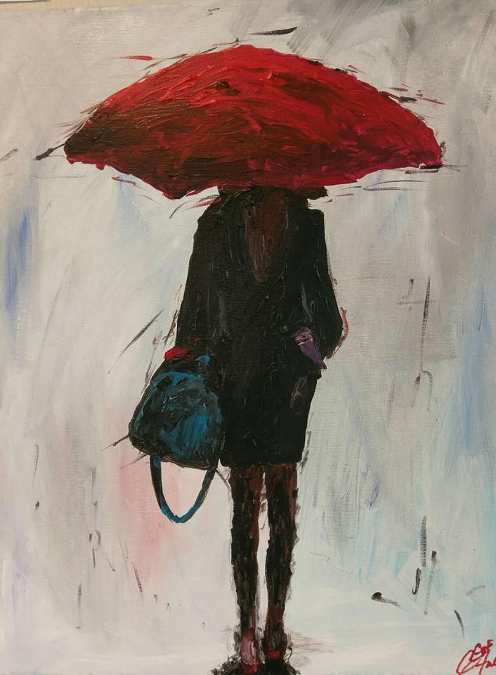 Red umbrella c p f paintings for Painting red umbrella