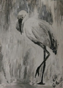 Heron in white
