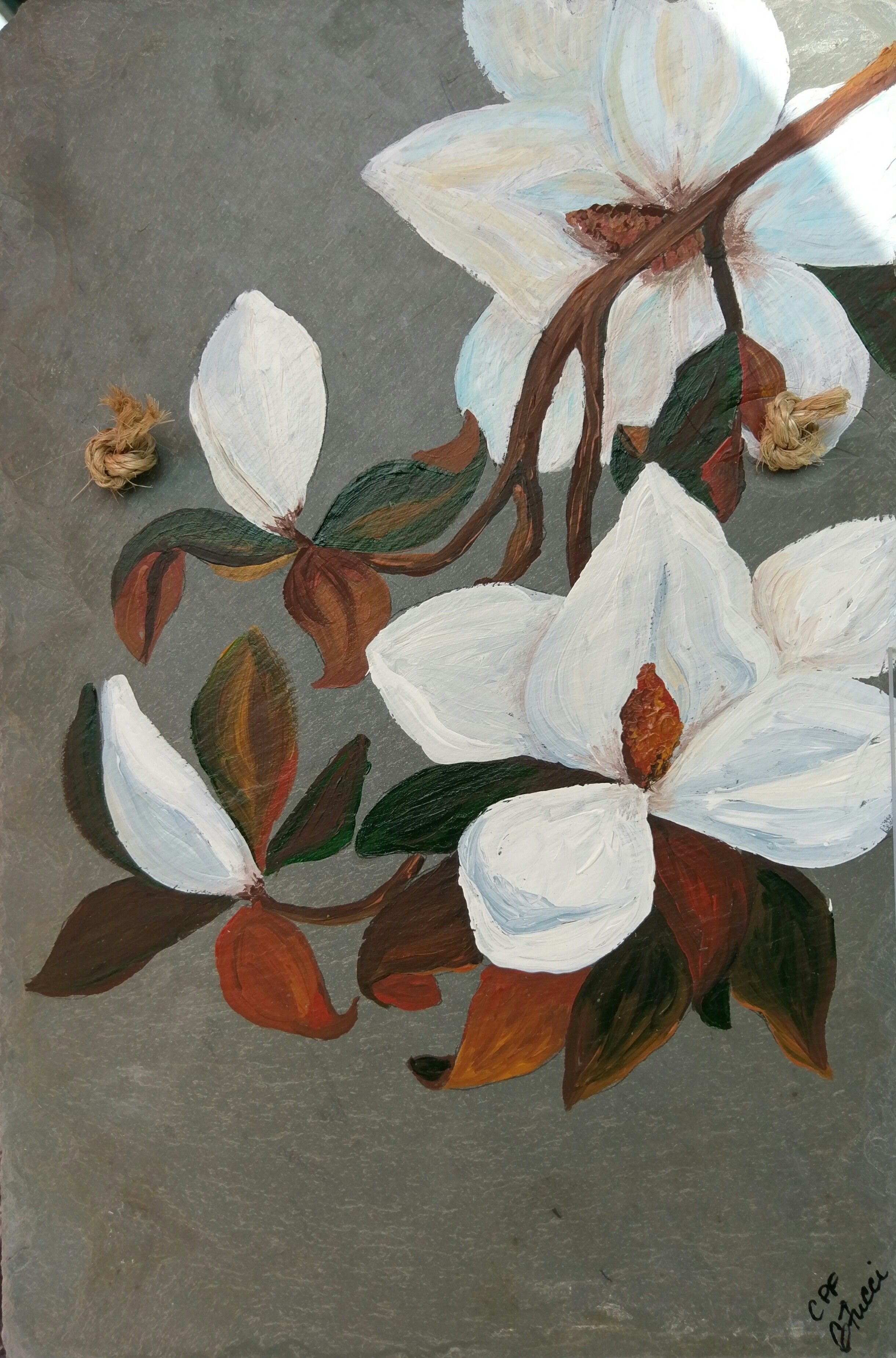 Magnolia Flowers Painted On 100 Plus Year Old Antique Roofing Slate