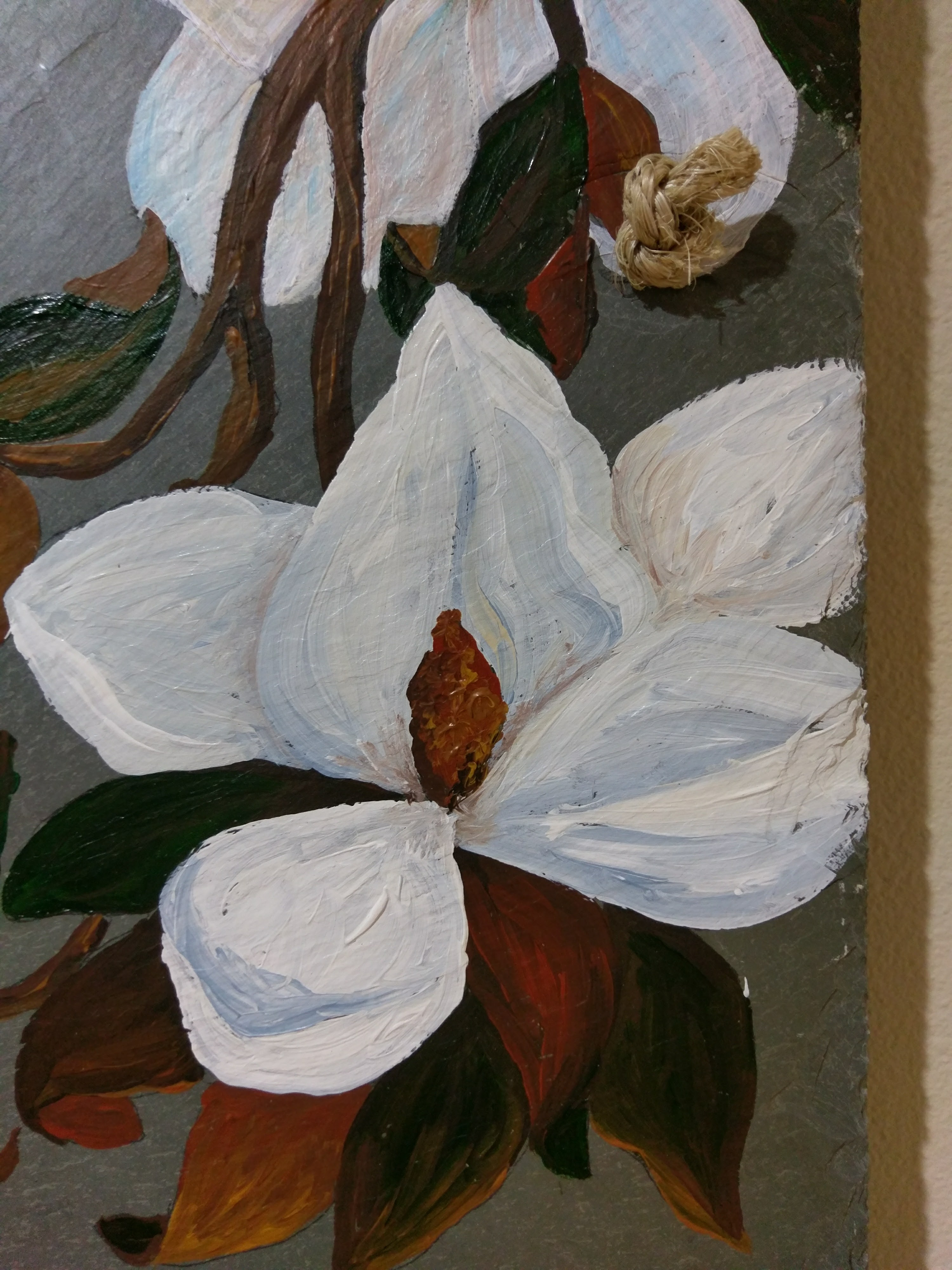 Magnolia Flowers Painted On 100 Plus Year Old Antique