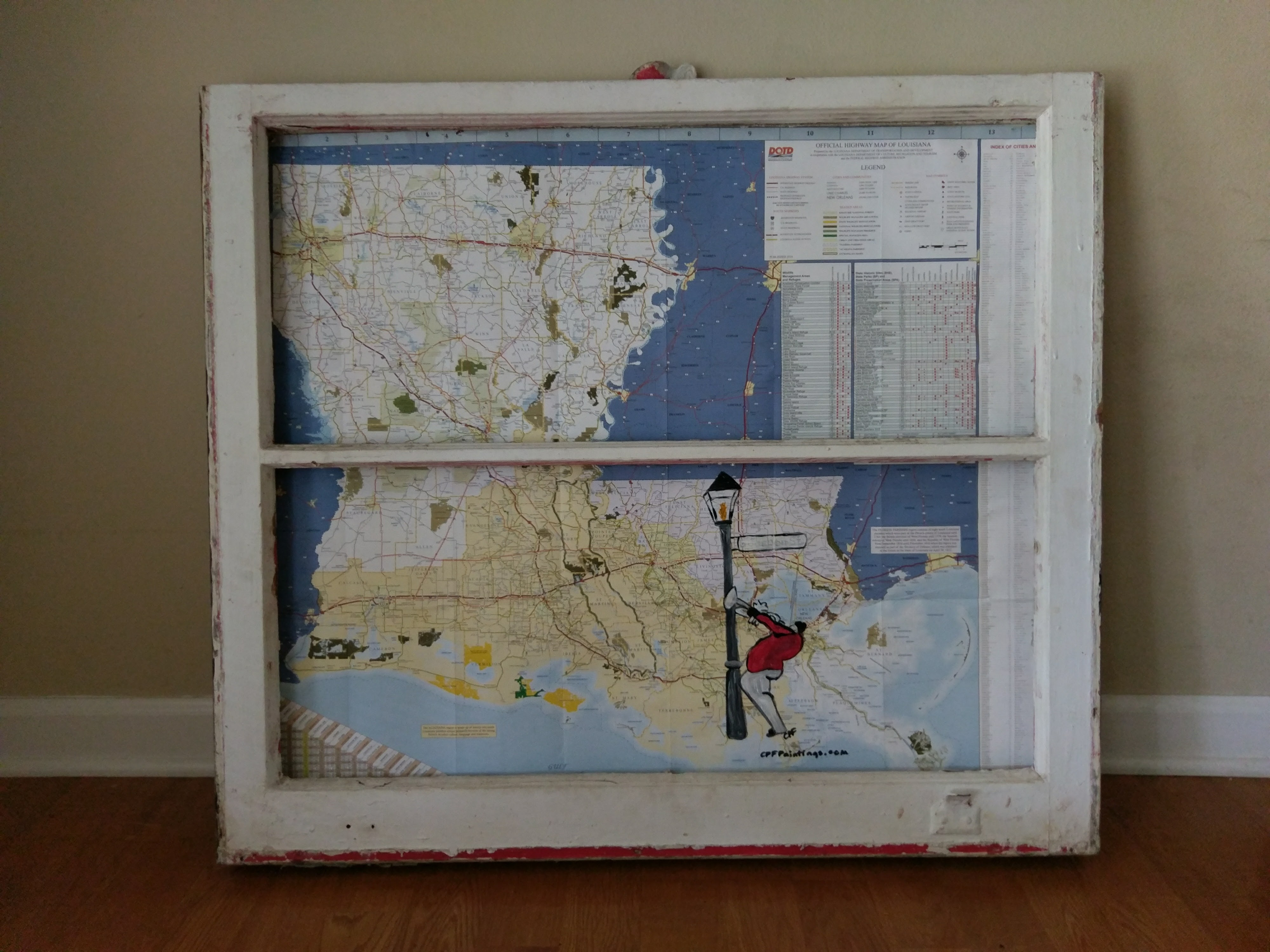 Handpainted LA map framed with Vintage Window C P F Paintings