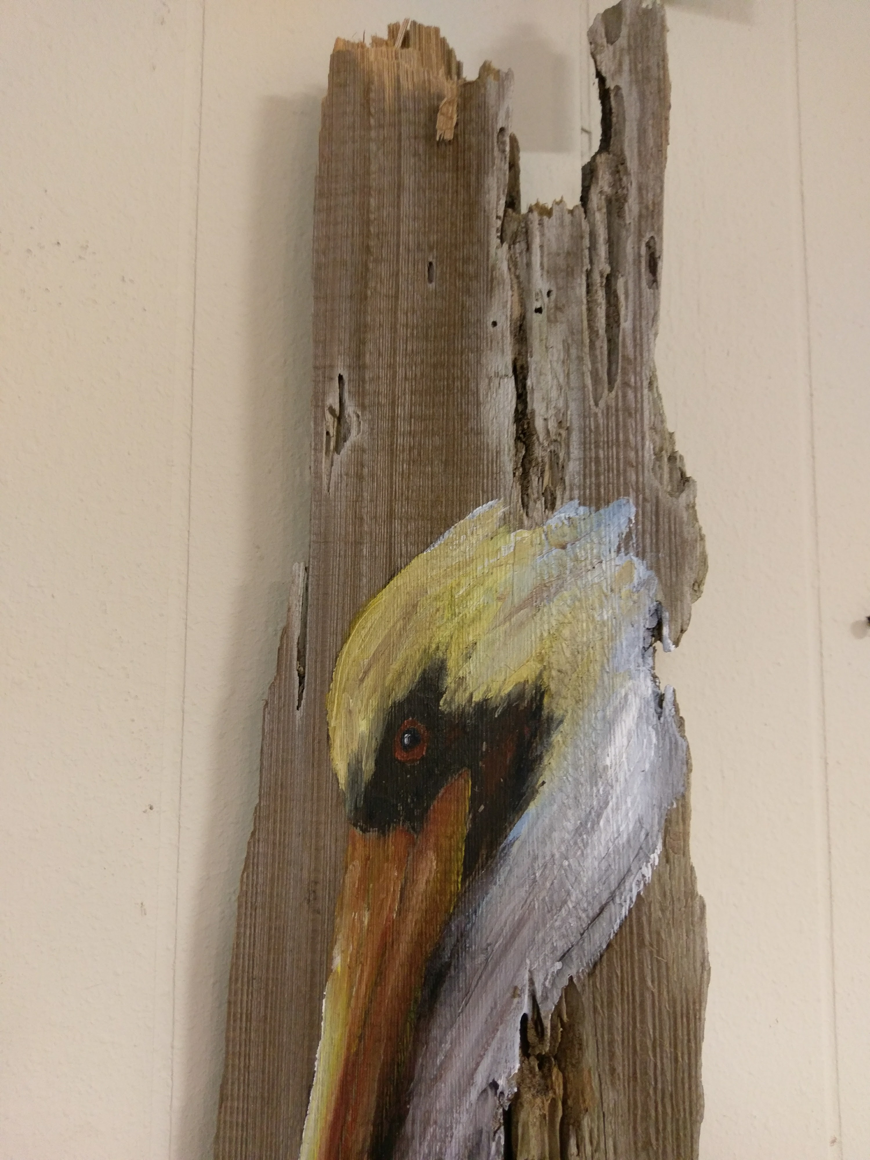 Pelican painting on reclaimed wood c p f paintings for Mural art on wood