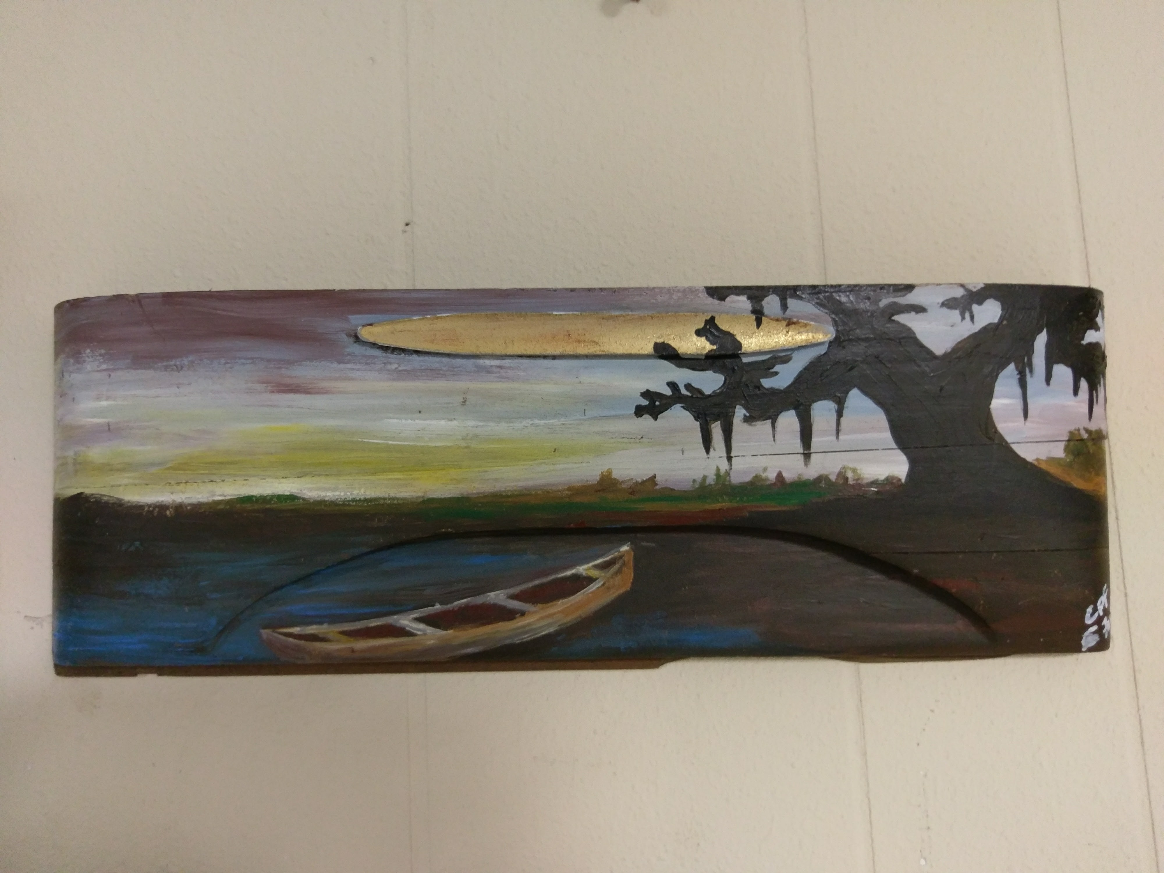 Pirogue and swamp Painting on Vintage Drawer Image