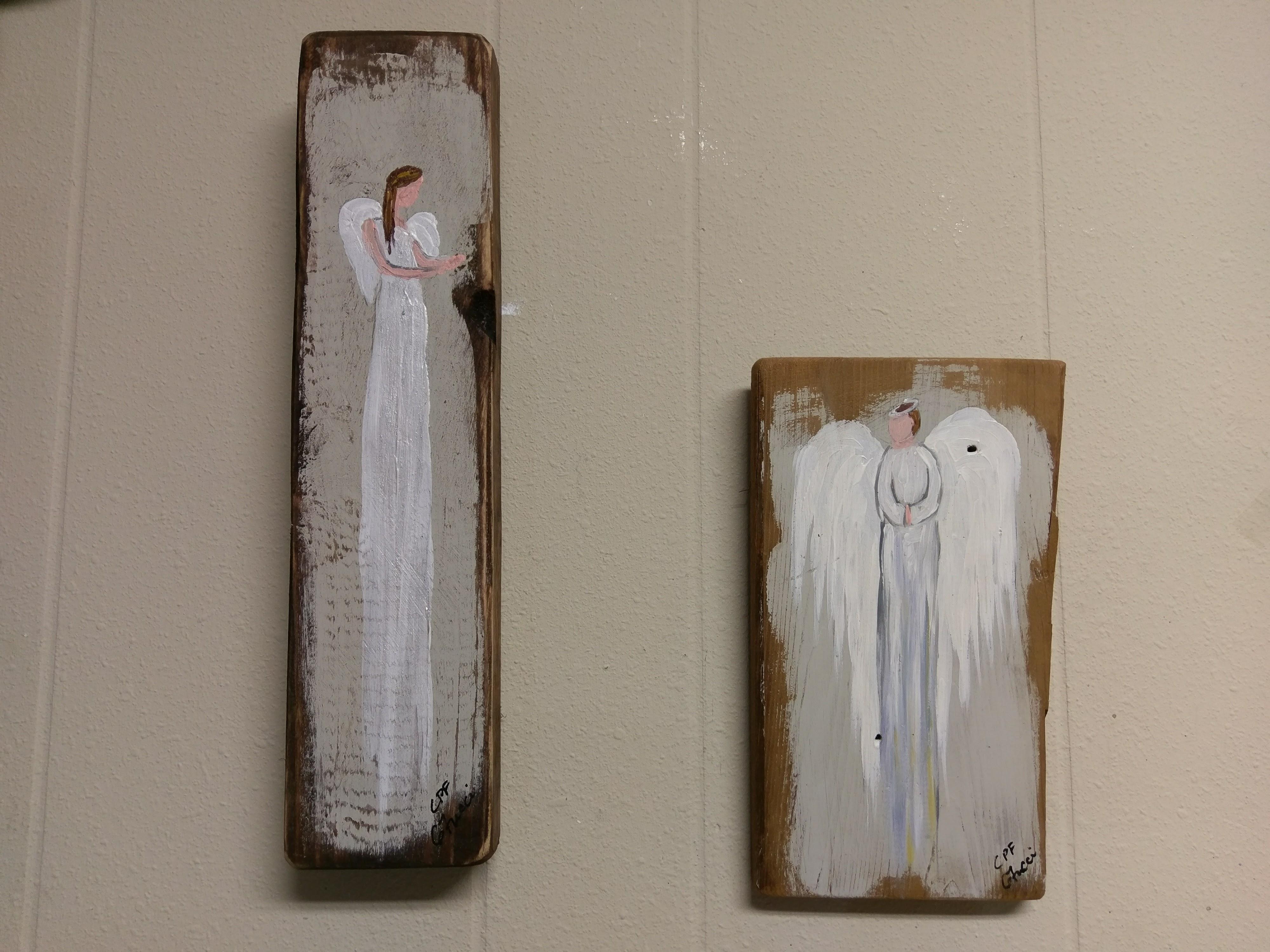 Angel Paintings on Reclaimed Vintage Wood Image