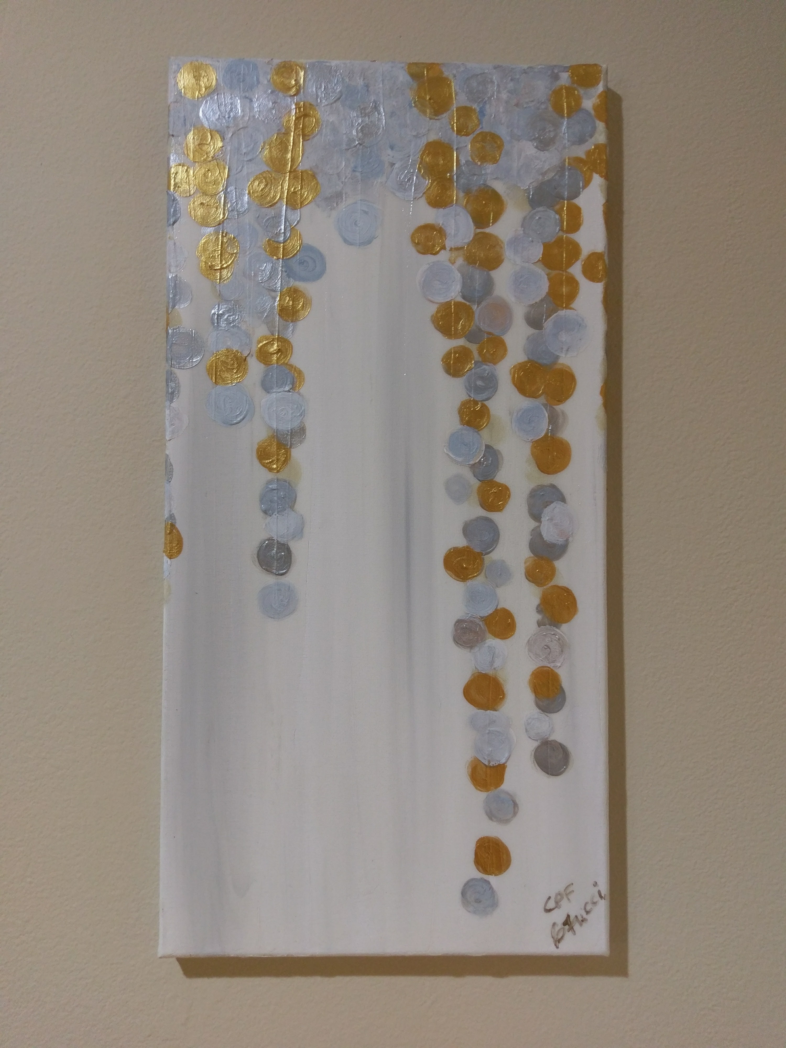 Gold and Silver Bubbles Abstract Home Decor C P F