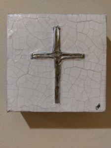 Silver cross on Canvas Image