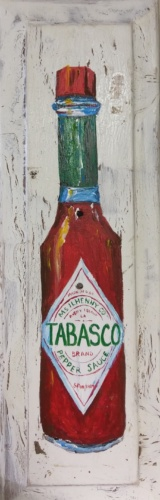 Tabasco Painting on Vintage Cabinet Door Image