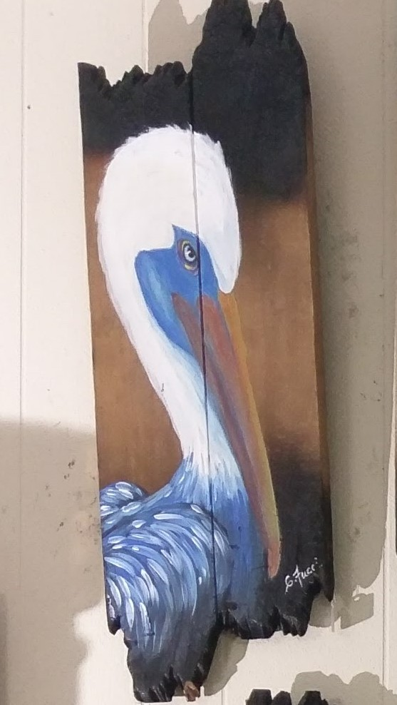 Pelican Paintings on Vintage Barn Wood Image